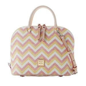 Dooney & Bourke YELLOW CHEVRON ZIP ZIP SATCHEL NWT